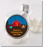 Camping - Personalized Birthday Party Candy Jar