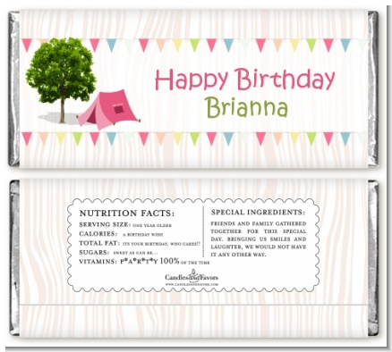 Camping Glam Style - Personalized Birthday Party Candy Bar Wrappers