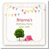 Camping Glam Style - Square Personalized Birthday Party Sticker Labels