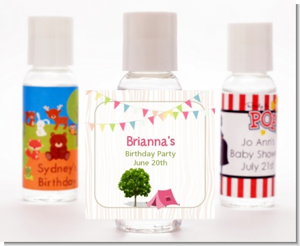 Camping Glam Style - Personalized Birthday Party Hand Sanitizers Favors