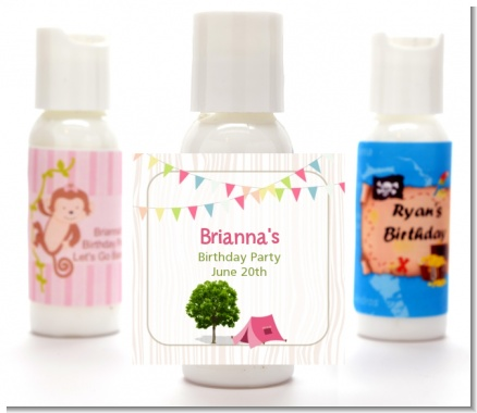 Camping Glam Style - Personalized Birthday Party Lotion Favors