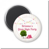 Camping Glam Style - Personalized Birthday Party Magnet Favors
