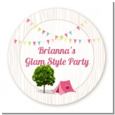 Camping Glam Style - Round Personalized Birthday Party Sticker Labels