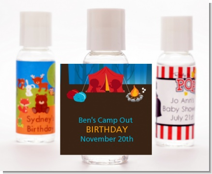 Camping - Personalized Birthday Party Hand Sanitizers Favors