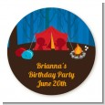Camping - Round Personalized Birthday Party Sticker Labels thumbnail