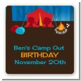Camping - Square Personalized Birthday Party Sticker Labels thumbnail