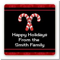 Candy Canes - Square Personalized Christmas Sticker Labels