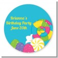 Candy Land - Round Personalized Birthday Party Sticker Labels thumbnail