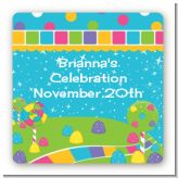 Candy Land - Square Personalized Birthday Party Sticker Labels