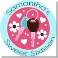 Car Keys | Sweet 16 - Round Personalized Birthday Party Sticker Labels thumbnail