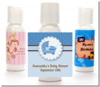 Carriage Blue - Personalized Baby Shower Lotion Favors