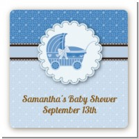Carriage Blue - Square Personalized Baby Shower Sticker Labels