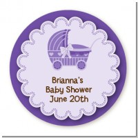 Carriage - Round Personalized Baby Shower Sticker Labels