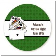 Casino Night Royal Flush - Round Personalized Birthday Party Sticker Labels thumbnail
