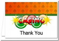 Casino Night Vegas Style - Birthday Party Thank You Cards