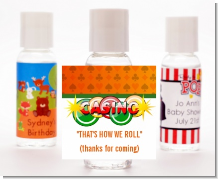 Casino Night Vegas Style - Personalized Birthday Party Hand Sanitizers Favors