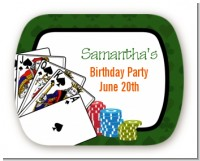 Casino Night Royal Flush - Personalized Birthday Party Rounded Corner Stickers