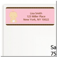 Baby Girl Caucasian - Baby Shower Return Address Labels