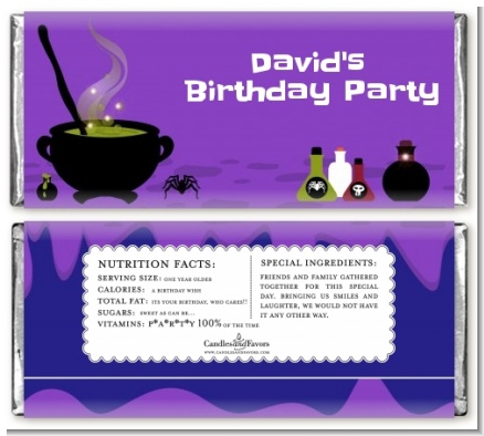 Cauldron & Potions - Personalized Birthday Party Candy Bar Wrappers