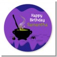 Cauldron & Potions - Round Personalized Birthday Party Sticker Labels thumbnail