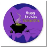 Cauldron & Potions - Round Personalized Birthday Party Sticker Labels