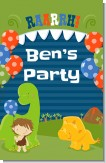 Dinosaur and Caveman - Personalized Birthday Party Wall Art