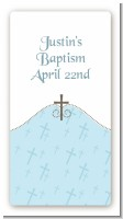 Cross Blue - Custom Rectangle Baptism / Christening Sticker/Labels