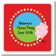 Circus Cotton Candy - Square Personalized Birthday Party Sticker Labels thumbnail