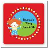 Circus Clown - Square Personalized Birthday Party Sticker Labels