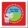 Circus Elephant - Square Personalized Birthday Party Sticker Labels thumbnail