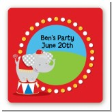 Circus Elephant - Square Personalized Birthday Party Sticker Labels