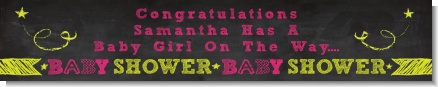 Baby Girl Chalk Inspired - Personalized Baby Shower Banners