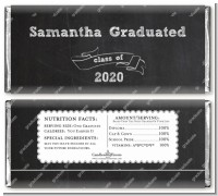 Chalkboard Celebration - Personalized Graduation Party Candy Bar Wrappers