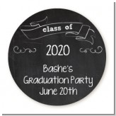 Chalkboard Celebration - Round Personalized Graduation Party Sticker Labels