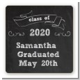 Chalkboard Celebration - Square Personalized Graduation Party Sticker Labels thumbnail