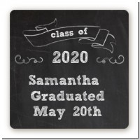 Chalkboard Celebration - Square Personalized Graduation Party Sticker Labels
