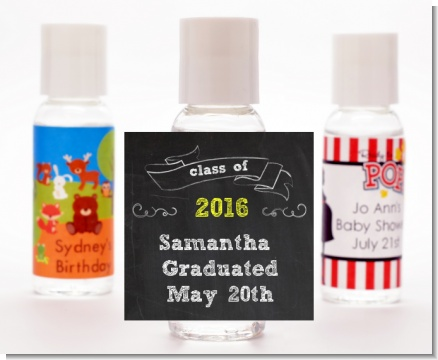 Chalkboard Celebration - Personalized Graduation Party Hand Sanitizers Favors