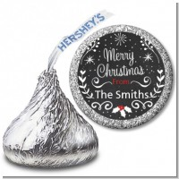 Chalkboard Mistletoe - Hershey Kiss Christmas Sticker Labels