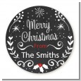 Chalkboard Mistletoe - Round Personalized Christmas Sticker Labels thumbnail