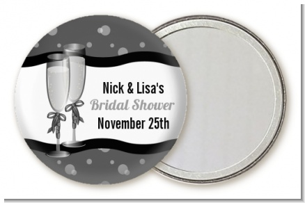 Champagne Glasses - Personalized Bridal Shower Pocket Mirror Favors