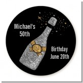 Champagne Gold Silver Faux Glitter - Round Personalized Birthday Party Sticker Labels