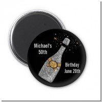Champagne Gold Silver Faux Glitter - Personalized Birthday Party Magnet Favors
