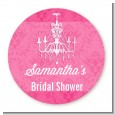 Chandelier - Round Personalized Bridal Shower Sticker Labels thumbnail