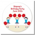 Cheerleader - Round Personalized Birthday Party Sticker Labels thumbnail
