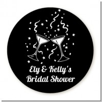 Cheers - Round Personalized Bridal Shower Sticker Labels