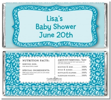 Cheetah Print Blue - Personalized Birthday Party Candy Bar Wrappers