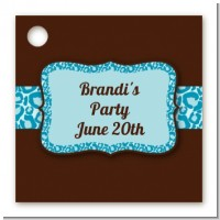 Cheetah Print Blue - Personalized Birthday Party Card Stock Favor Tags