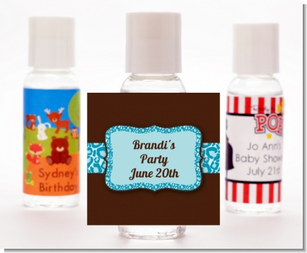 Cheetah Print Blue - Personalized Birthday Party Hand Sanitizers Favors