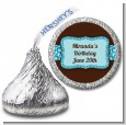 Cheetah Print Blue - Hershey Kiss Birthday Party Sticker Labels thumbnail