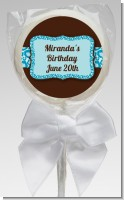 Cheetah Print Blue - Personalized Birthday Party Lollipop Favors